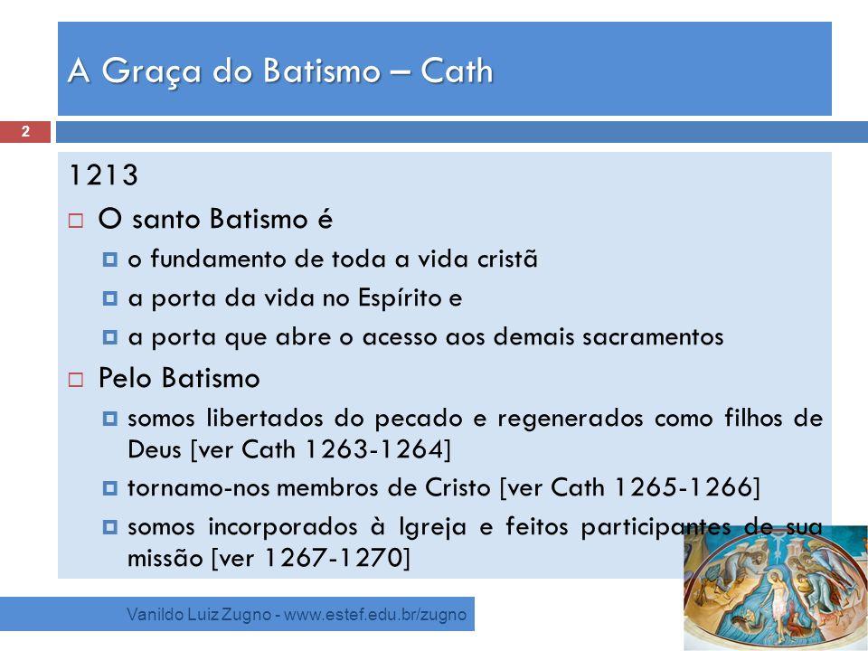 A Graça do Batismo – Cath Vanildo Luiz Zugno - www.estef.edu.br/zugno 1213 O santo Batismo é o fundamento de toda a vida cristã a porta da vida no Esp