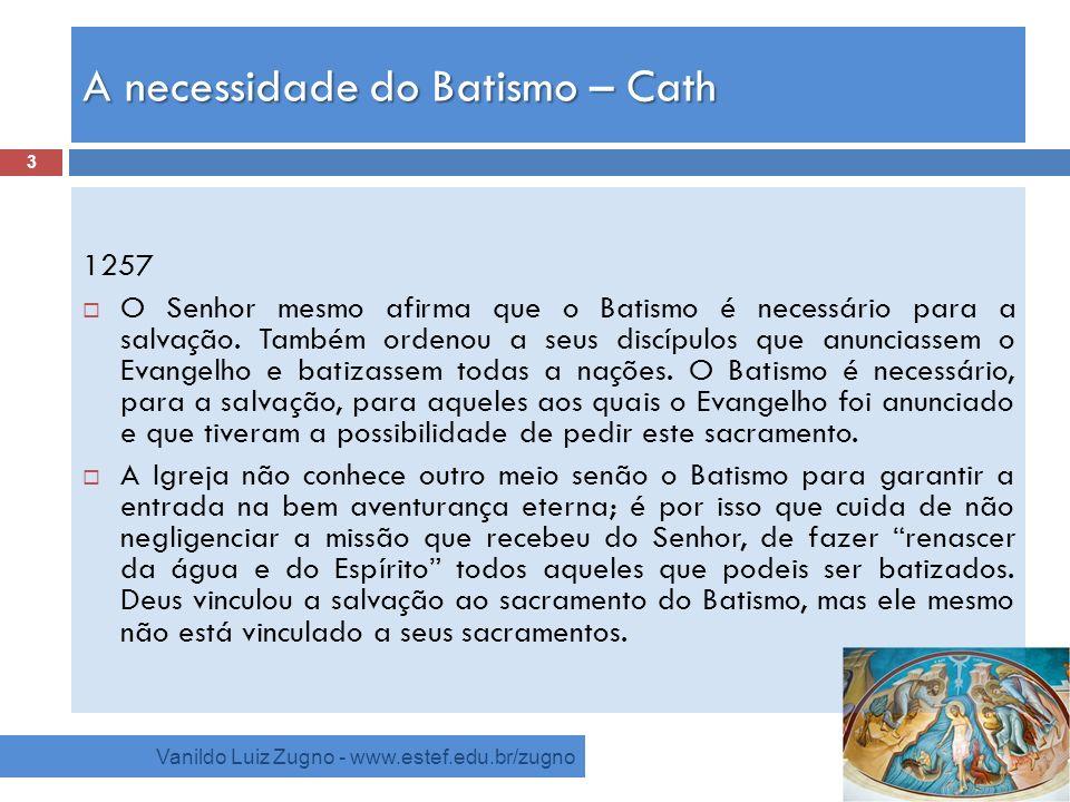 A necessidade do Batismo – Cath Vanildo Luiz Zugno - www.estef.edu.br/zugno 1257 O Senhor mesmo afirma que o Batismo é necessário para a salvação. Tam