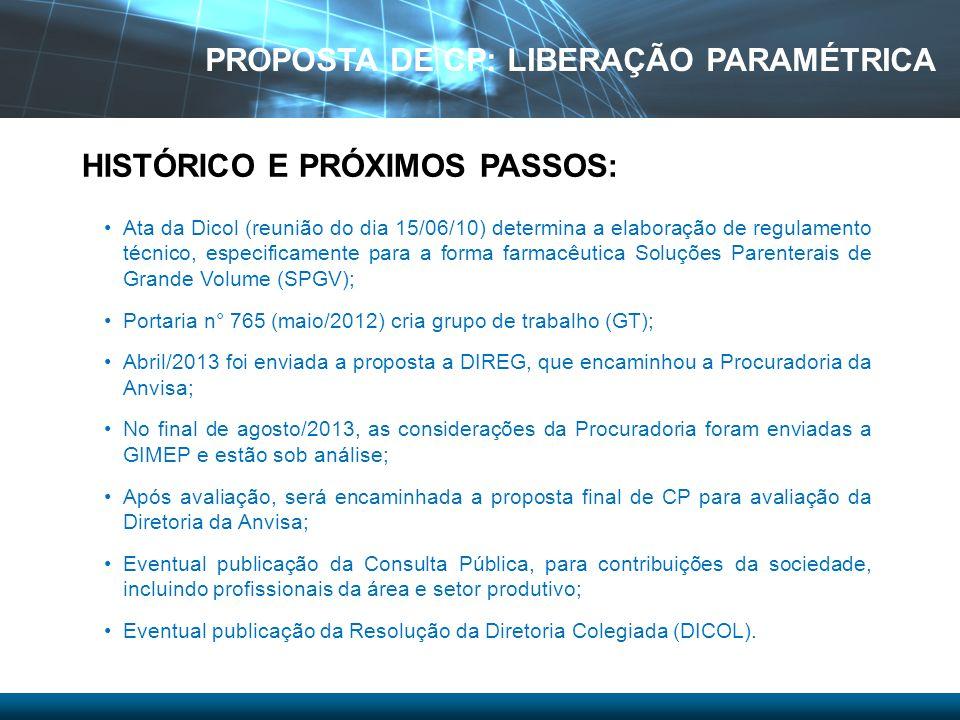 Ata da Dicol (reunião do dia 15/06/10) determina a elaboração de regulamento técnico, especificamente para a forma farmacêutica Soluções Parenterais d