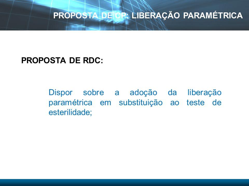 Dispor sobre a adoção da liberação paramétrica em substituição ao teste de esterilidade; PROPOSTA DE RDC: PROPOSTA DE CP: LIBERAÇÃO PARAMÉTRICA
