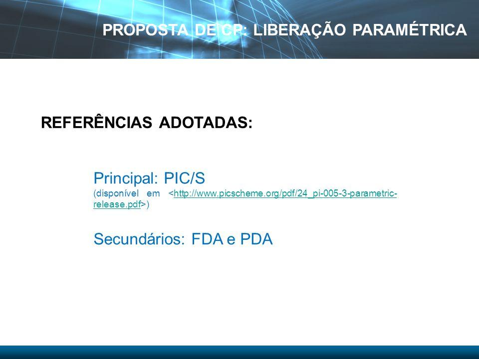 Principal: PIC/S (disponível em )http://www.picscheme.org/pdf/24_pi-005-3-parametric- release.pdf Secundários: FDA e PDA REFERÊNCIAS ADOTADAS: PROPOST