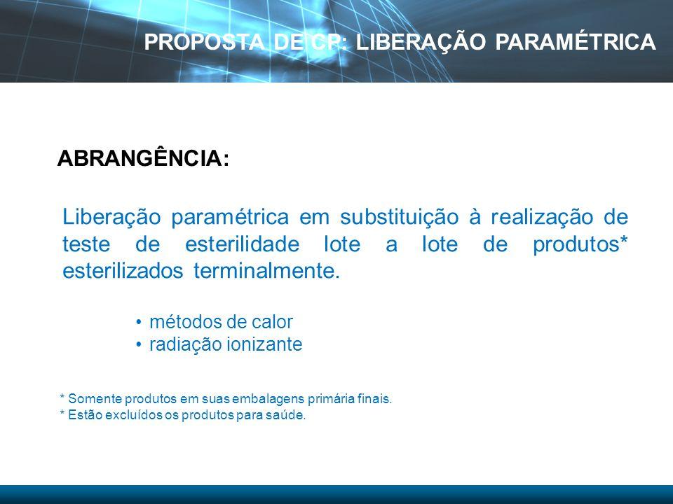 Liberação paramétrica em substituição à realização de teste de esterilidade lote a lote de produtos* esterilizados terminalmente. métodos de calor rad