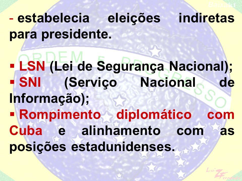 AI-2: (3ª 3 EXPLICAÇÃO) - aumentava o controle sobre o Legislativo (o presidente podia decretar o recesso do Congresso Nacional, assembléias estaduais e câmaras municipais); - extinguia todos os partidos políticos e instituía o bipartidarismo: ARENA ( Aliança Renovadora Nacional ) e o MDB ( Movimento Democrático Brasileiro );
