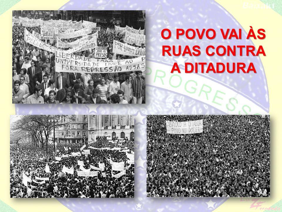 Cria-se a Frente Ampla – Carlos Lacerda e JK, apoiados por Jango (exilado no Uruguai) e pelo PCB, na ilegalidade; Greves operárias – Contagem(MG) e Osasco (SP); Passeata dos Cem Mil (1968 - no RJ, mostrava o descontentamento popular em relação ao governo ditatorial);