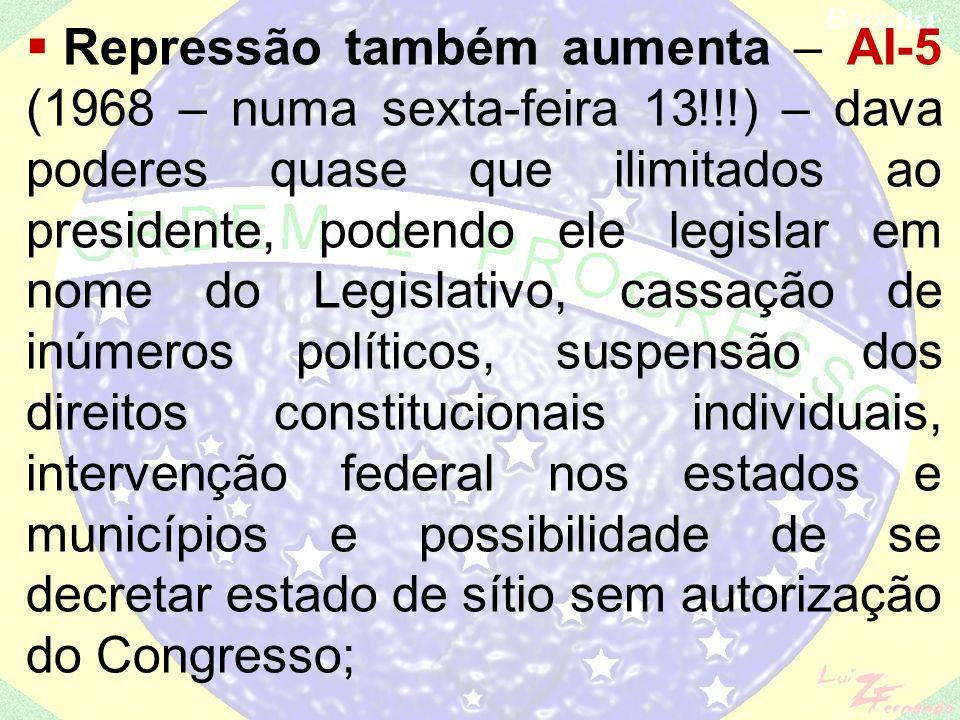UNE (decretada como ilegal em 1964) faz um congresso clandestino em Ibiúna/SP – 1240 líderes estudantis de todo o país são presos, o que enfraquece o
