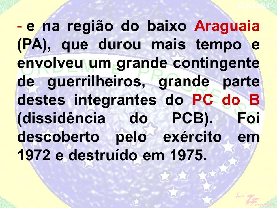 Grupos guerrilheiros Grupos guerrilheiros: - Serra do Caparão (MG), rapidamente derrotado; - Vale da Ribeira (SP), liderado pelo capitão dissidente do exército Carlos Lamarca (VPR – Vanguarda Popular Revolucionária), que resistiu por mais tempo;