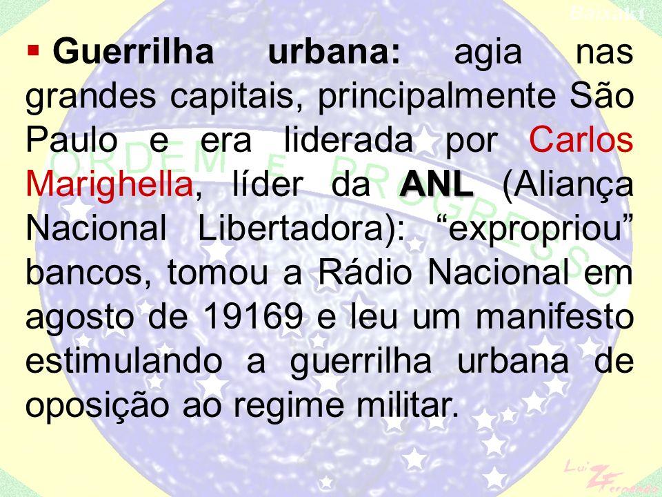 - e na região do baixo Araguaia (PA), que durou mais tempo e envolveu um grande contingente de guerrilheiros, grande parte destes integrantes do PC do B (dissidência do PCB).