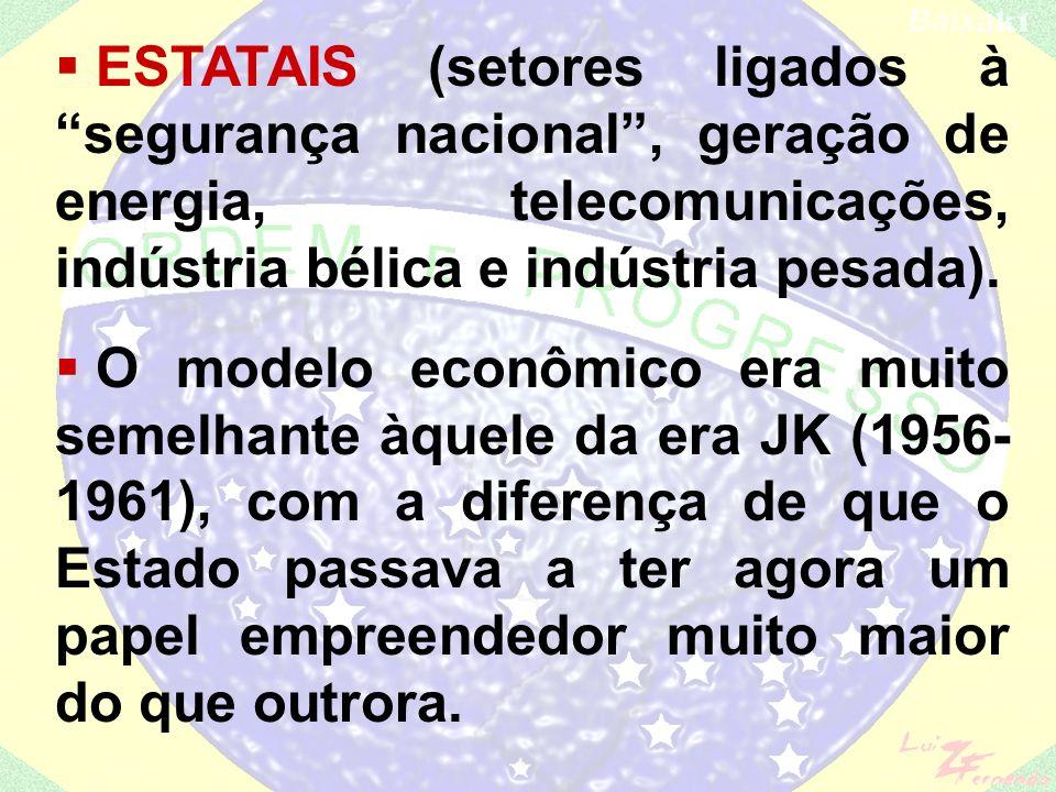EMPRESAS PRIVADAS NACIONAIS (setores que apresentavam fraca demanda de capital e forte demanda de mão-de- obra – têxtil, alimentos – bens de consumo n