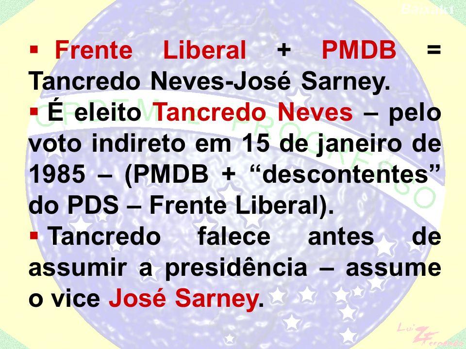 Diretas já – iniciada pelo PT logo teve a adesão do PMDB (Ulisses Guimarães) e do PDT (Leonel Brizola) – Emenda Dante de Oliveira não é aprovada... PD