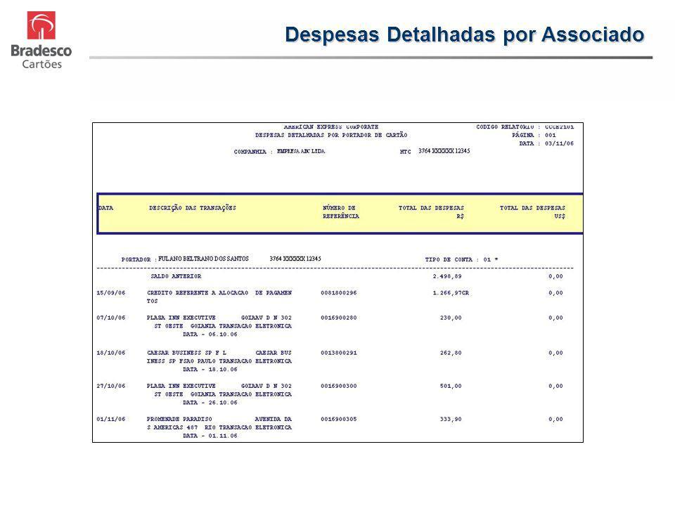 Despesas Detalhadas por Associado