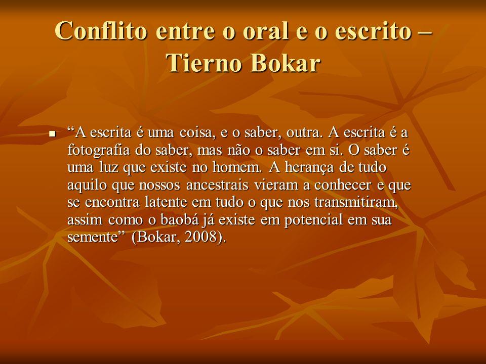 Conflito entre o oral e o escrito – Tierno Bokar A escrita é uma coisa, e o saber, outra. A escrita é a fotografia do saber, mas não o saber em si. O