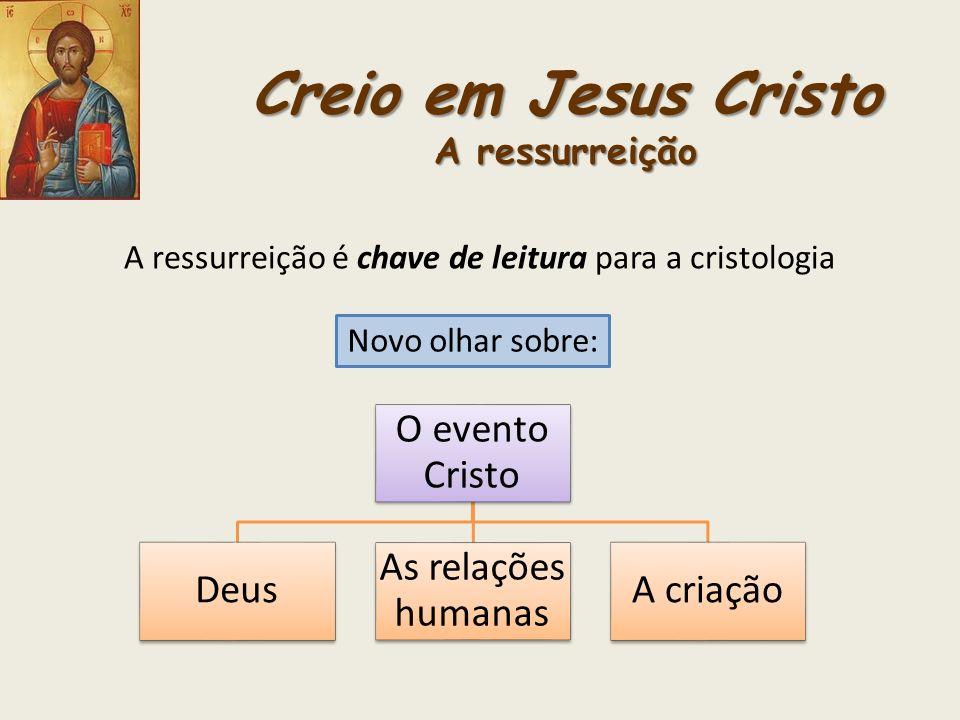 Creio em Jesus Cristo A ressurreição A ressurreição é chave de leitura para a cristologia Novo olhar sobre: O evento Cristo Deus As relações humanas A