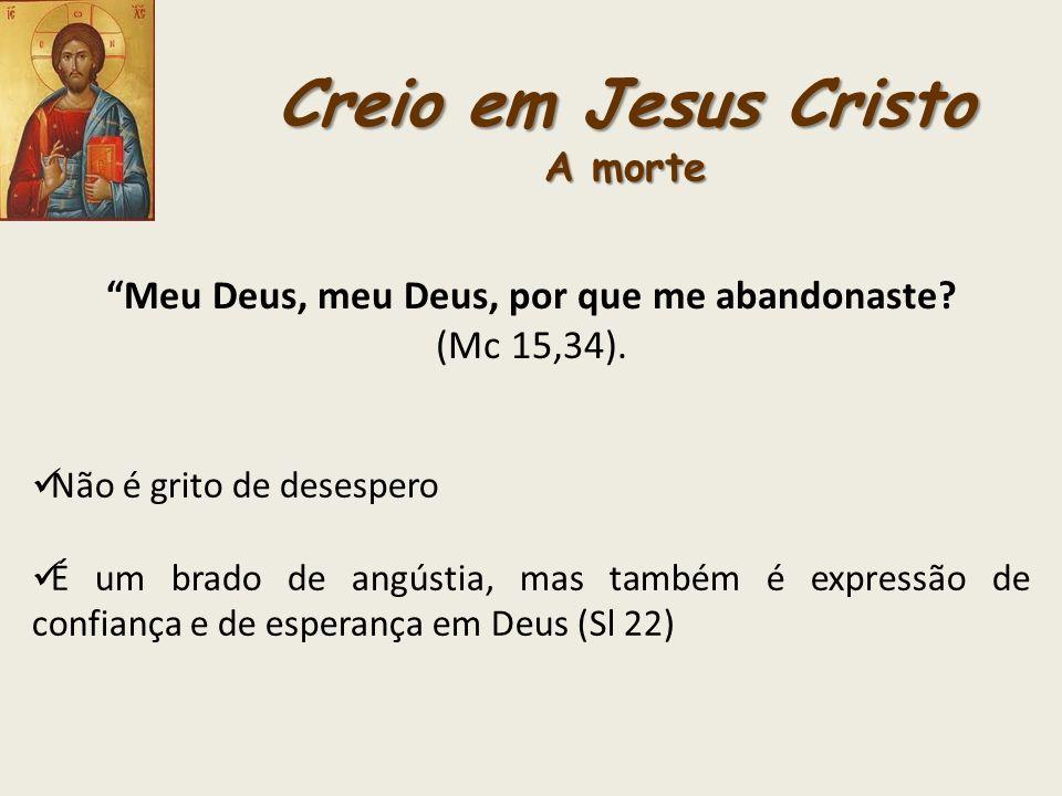 Creio em Jesus Cristo A morte Meu Deus, meu Deus, por que me abandonaste? (Mc 15,34). Não é grito de desespero É um brado de angústia, mas também é ex