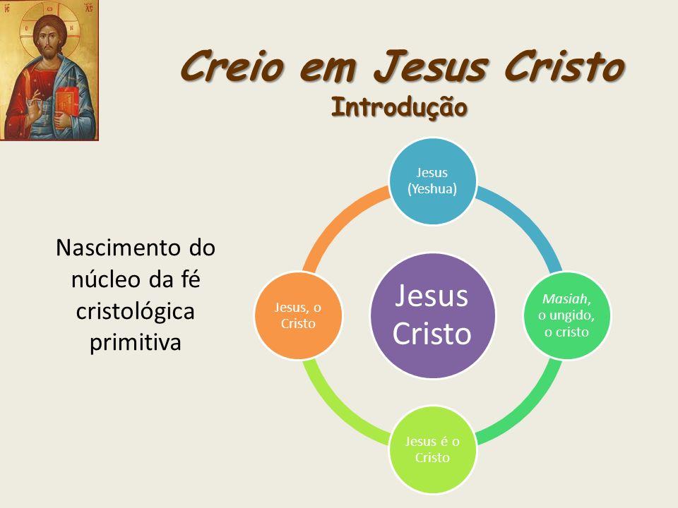 Creio em Jesus Cristo Introdução Nascimento do núcleo da fé cristológica primitiva Jesus Cristo Jesus (Yeshua) Masiah, o ungido, o cristo Jesus é o Cr