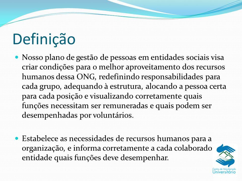 Definição Nosso plano de gestão de pessoas em entidades sociais visa criar condições para o melhor aproveitamento dos recursos humanos dessa ONG, rede