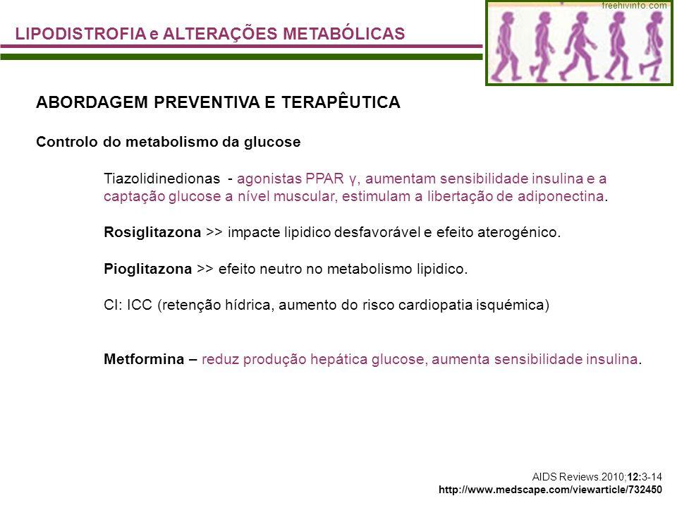 freehivinfo.com LIPODISTROFIA e ALTERAÇÕES METABÓLICAS ABORDAGEM PREVENTIVA E TERAPÊUTICA Controlo do metabolismo da glucose Tiazolidinedionas - agoni