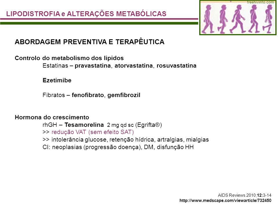 freehivinfo.com LIPODISTROFIA e ALTERAÇÕES METABÓLICAS ABORDAGEM PREVENTIVA E TERAPÊUTICA Controlo do metabolismo dos lipidos Estatinas – pravastatina