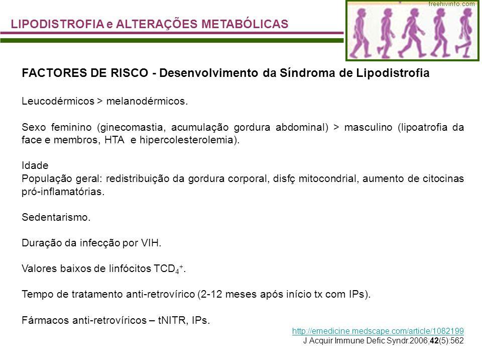 LIPODISTROFIA e ALTERAÇÕES METABÓLICAS freehivinfo.com FACTORES DE RISCO - Desenvolvimento da Síndroma de Lipodistrofia Leucodérmicos > melanodérmicos