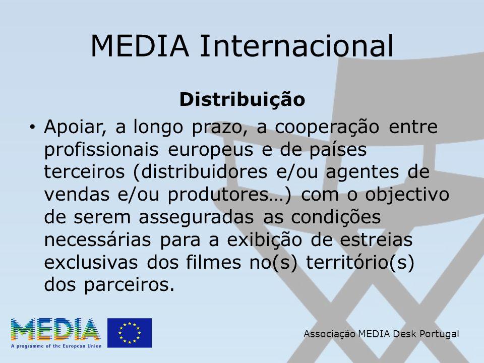 Associação MEDIA Desk Portugal MEDIA Internacional Distribuição Apoiar, a longo prazo, a cooperação entre profissionais europeus e de países terceiros (distribuidores e/ou agentes de vendas e/ou produtores…) com o objectivo de serem asseguradas as condições necessárias para a exibição de estreias exclusivas dos filmes no(s) território(s) dos parceiros.