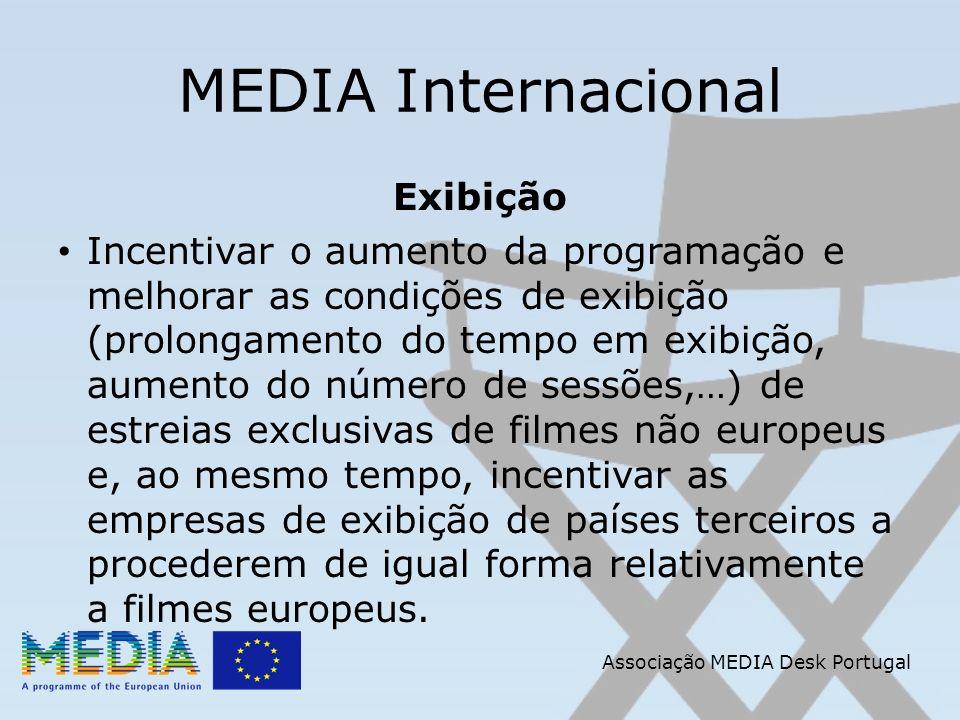 Associação MEDIA Desk Portugal MEDIA Internacional Exibição Incentivar o aumento da programação e melhorar as condições de exibição (prolongamento do tempo em exibição, aumento do número de sessões,…) de estreias exclusivas de filmes não europeus e, ao mesmo tempo, incentivar as empresas de exibição de países terceiros a procederem de igual forma relativamente a filmes europeus.