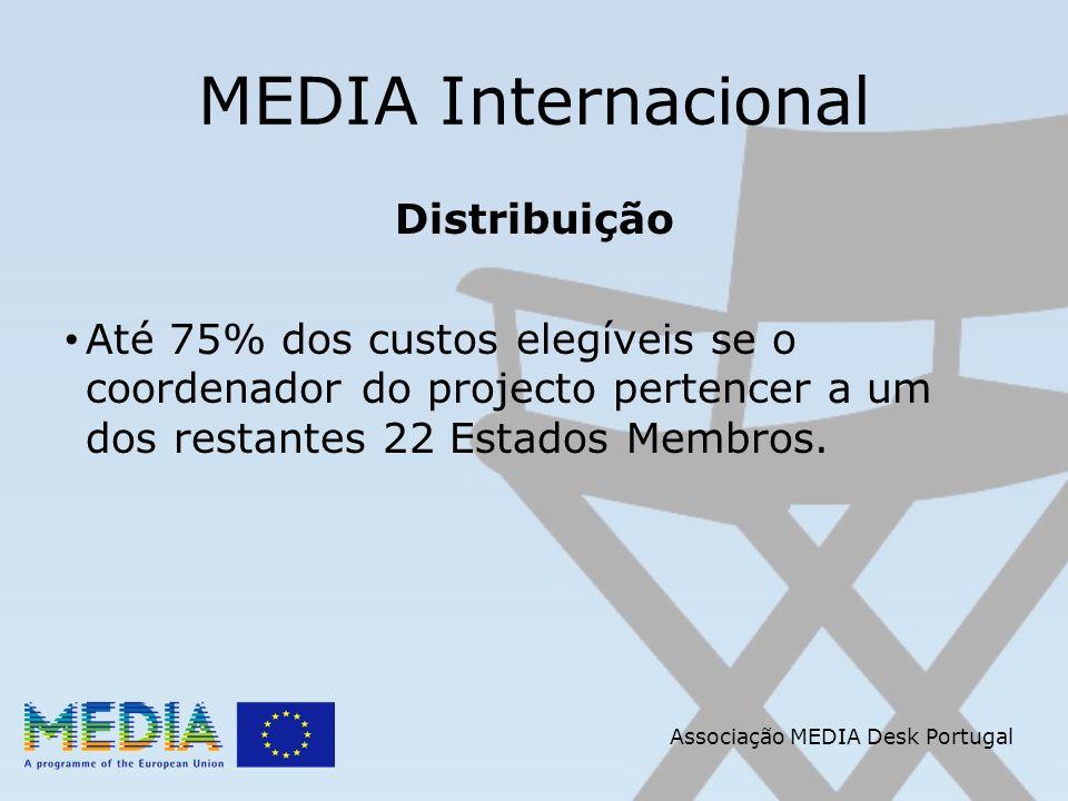 Associação MEDIA Desk Portugal MEDIA Internacional Distribuição Até 75% dos custos elegíveis se o coordenador do projecto pertencer a um dos restantes 22 Estados Membros.