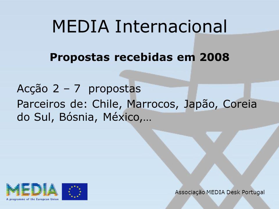 Associação MEDIA Desk Portugal MEDIA Internacional Propostas recebidas em 2008 Acção 2 – 7 propostas Parceiros de: Chile, Marrocos, Japão, Coreia do Sul, Bósnia, México,…