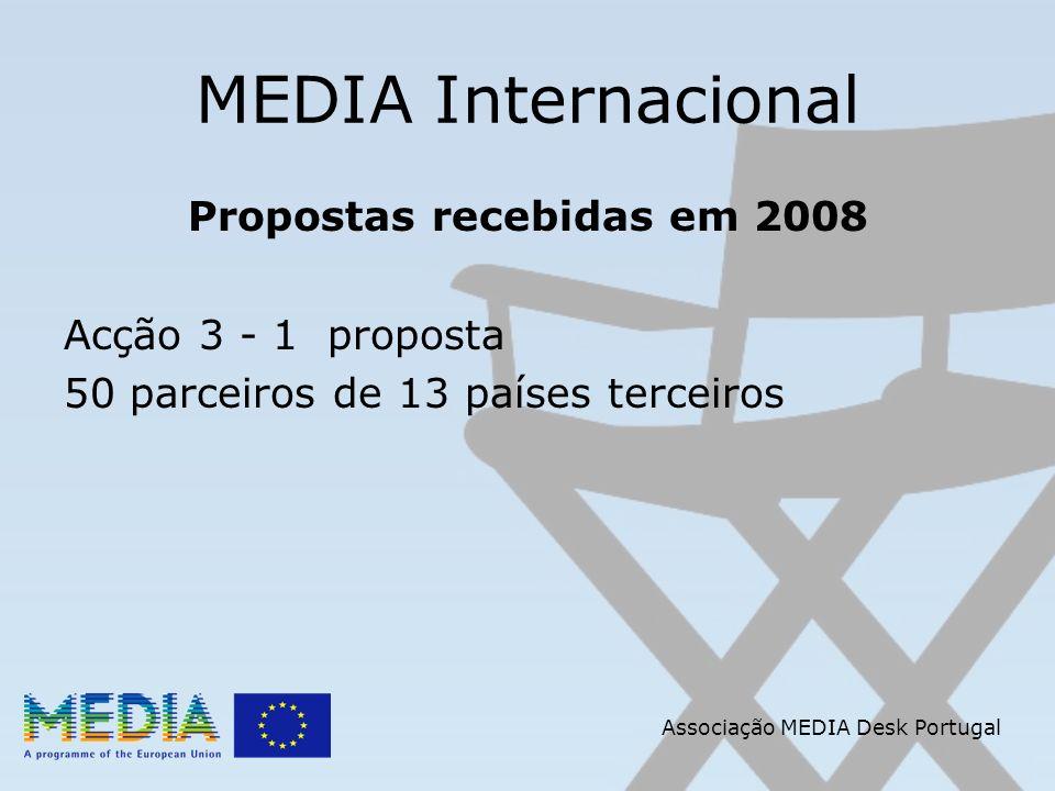 Associação MEDIA Desk Portugal MEDIA Internacional Propostas recebidas em 2008 Acção 3 - 1 proposta 50 parceiros de 13 países terceiros