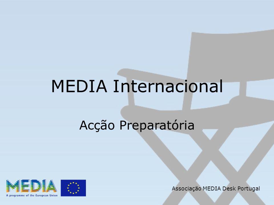 Associação MEDIA Desk Portugal MEDIA Internacional Distribuição Visa apoiar projectos que tenham como objectivos: Facilitar e melhorar, por um lado, a distribuição de obras cinematográficas não europeias em salas sediadas na Europa e, por outro lado, a distribuição de filmes europeus para além das fronteiras europeias.