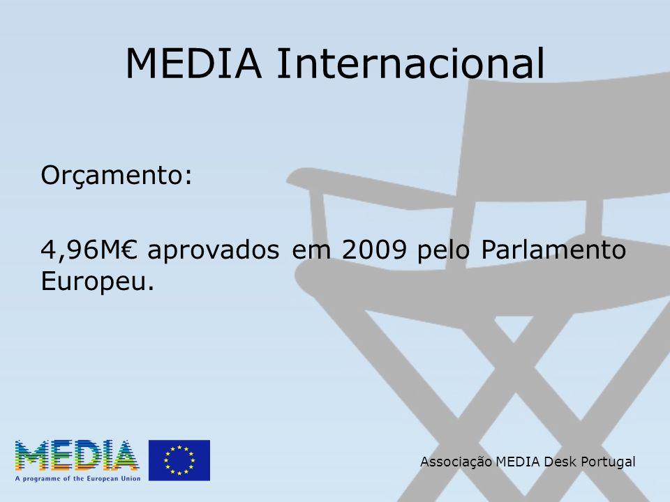 Associação MEDIA Desk Portugal MEDIA Internacional OBJECTIVOS: Reforçar a cooperação entre a Europa e países terceiros ao nível da indústria do cinema e do audiovisual, em benefício mútuo.