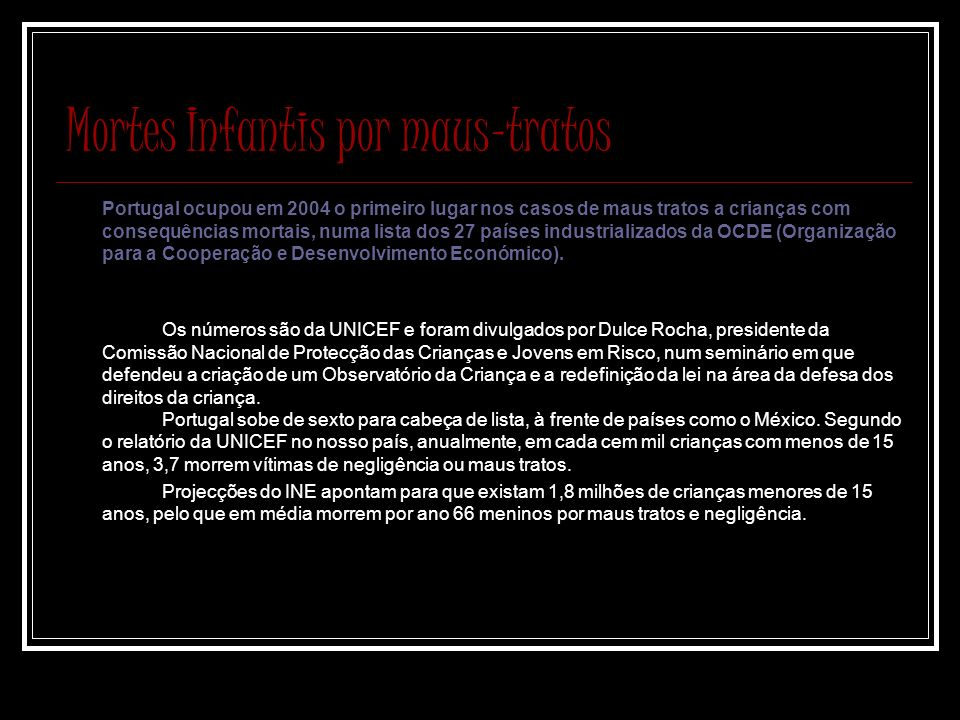 Mortes Infantis por maus-tratos Portugal ocupou em 2004 o primeiro lugar nos casos de maus tratos a crianças com consequências mortais, numa lista dos 27 países industrializados da OCDE (Organização para a Cooperação e Desenvolvimento Económico).