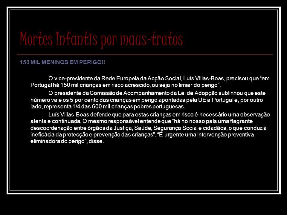 Mortes Infantis por maus-tratos 150 MIL MENINOS EM PERIGO!! O vice-presidente da Rede Europeia da Acção Social, Luís Villas-Boas, precisou que em Port