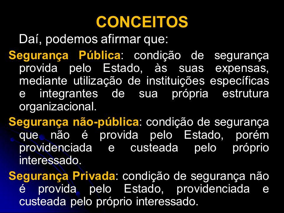 CONCEITOS Daí, podemos afirmar que: Segurança Pública: condição de segurança provida pelo Estado, às suas expensas, mediante utilização de instituiçõe