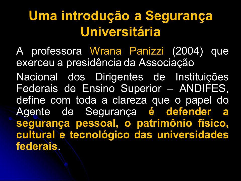 Uma introdução a Segurança Universitária A professora Wrana Panizzi (2004) que exerceu a presidência da Associação Nacional dos Dirigentes de Institui
