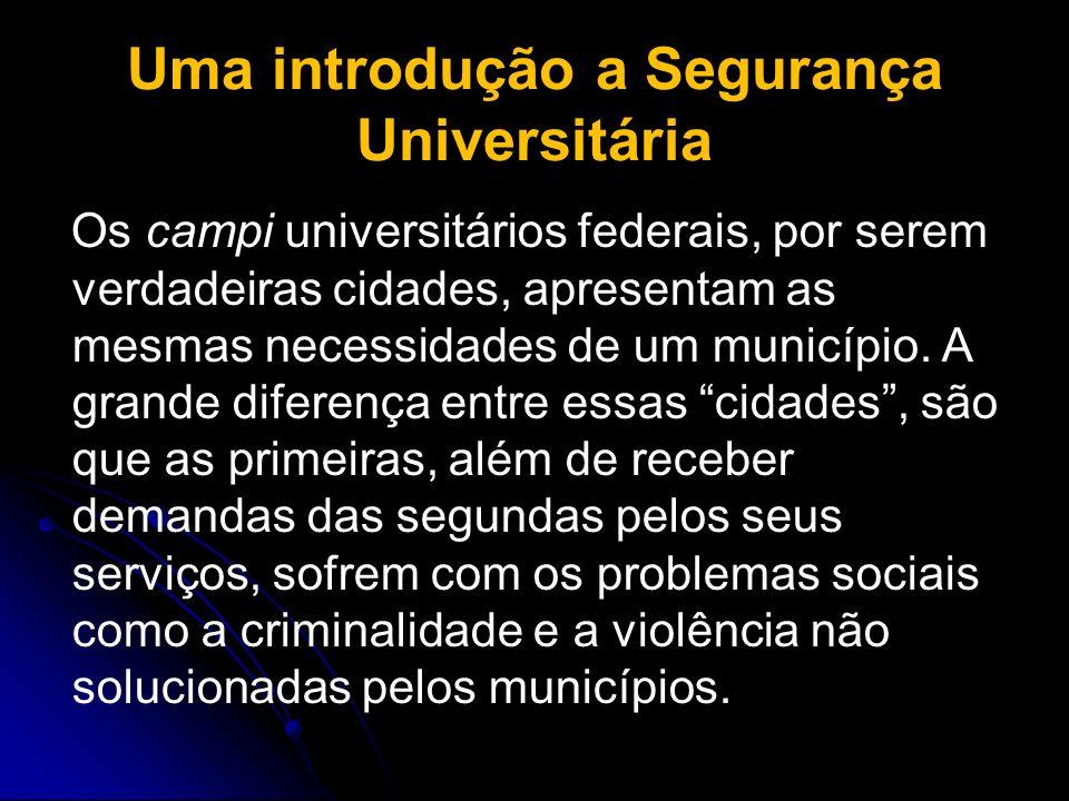 Uma introdução a Segurança Universitária Os campi universitários federais, por serem verdadeiras cidades, apresentam as mesmas necessidades de um muni