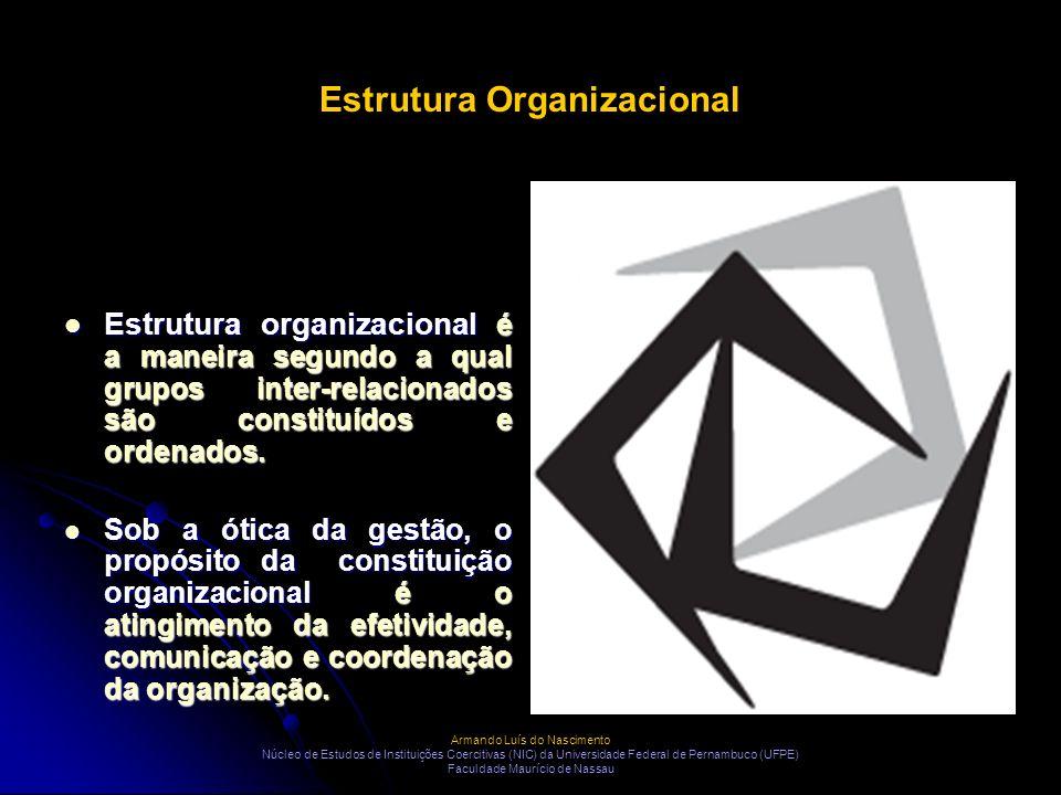 Estrutura Organizacional Estrutura organizacional é a maneira segundo a qual grupos inter-relacionados são constituídos e ordenados. Estrutura organiz