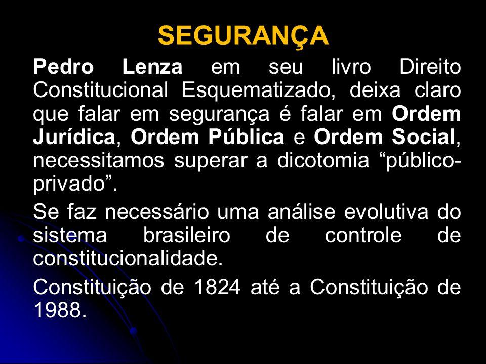 SEGURANÇA Pedro Lenza em seu livro Direito Constitucional Esquematizado, deixa claro que falar em segurança é falar em Ordem Jurídica, Ordem Pública e