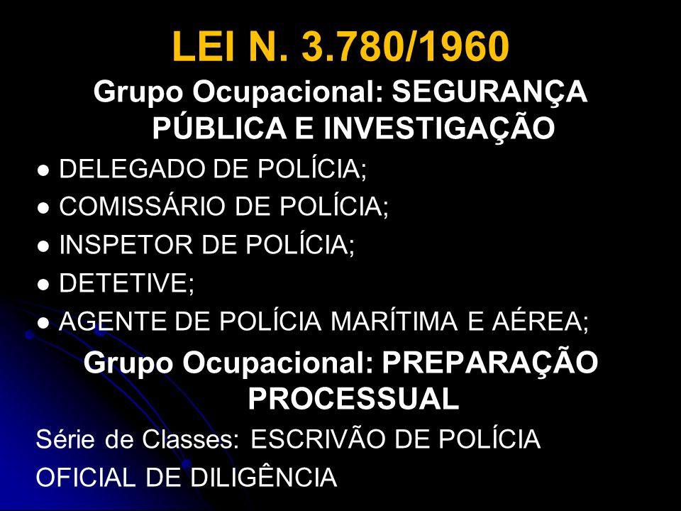 LEI N. 3.780/1960 Grupo Ocupacional: SEGURANÇA PÚBLICA E INVESTIGAÇÃO DELEGADO DE POLÍCIA; COMISSÁRIO DE POLÍCIA; INSPETOR DE POLÍCIA; DETETIVE; AGENT