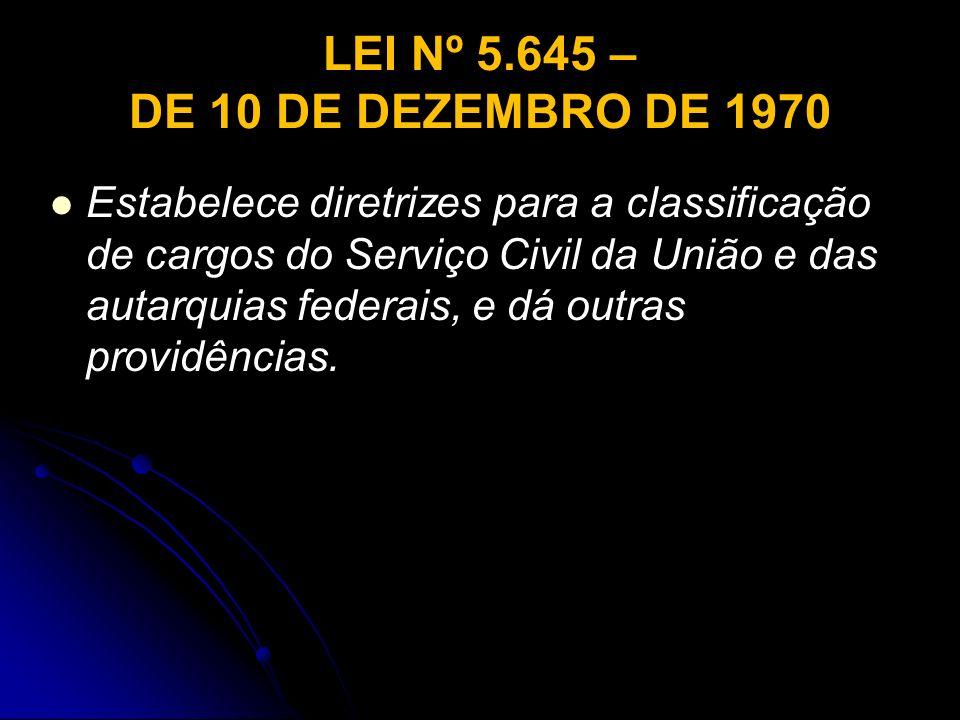 LEI Nº 5.645 – DE 10 DE DEZEMBRO DE 1970 Estabelece diretrizes para a classificação de cargos do Serviço Civil da União e das autarquias federais, e d