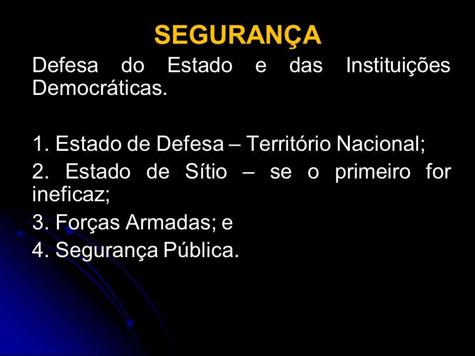 SEGURANÇA Defesa do Estado e das Instituições Democráticas. 1. Estado de Defesa – Território Nacional; 2. Estado de Sítio – se o primeiro for ineficaz