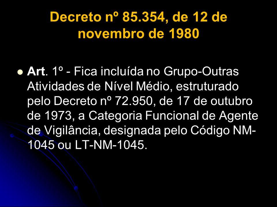 Decreto nº 85.354, de 12 de novembro de 1980 Art. 1º - Fica incluída no Grupo-Outras Atividades de Nível Médio, estruturado pelo Decreto nº 72.950, de