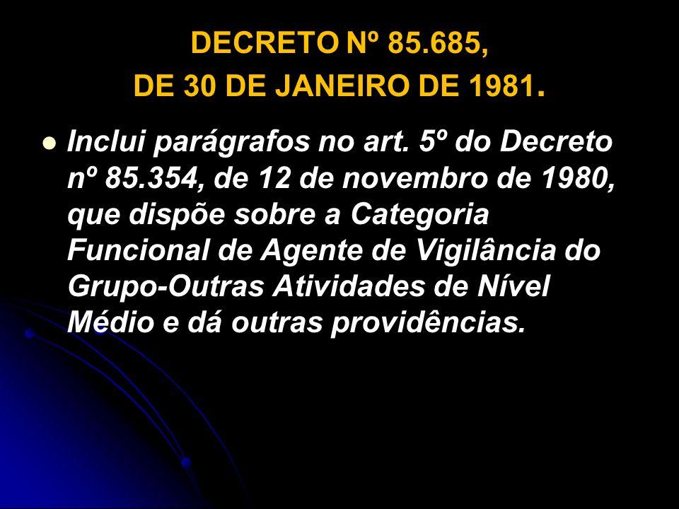 DECRETO Nº 85.685, DE 30 DE JANEIRO DE 1981. Inclui parágrafos no art. 5º do Decreto nº 85.354, de 12 de novembro de 1980, que dispõe sobre a Categori