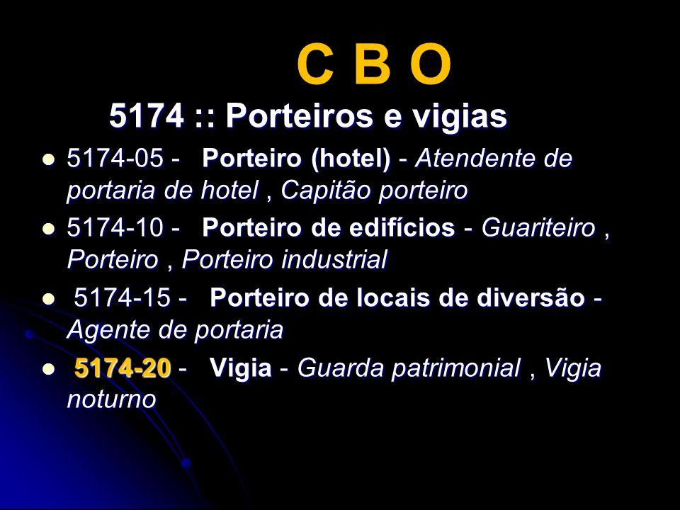 C B O 5174 :: Porteiros e vigias 5174 :: Porteiros e vigias 5174-05 - Porteiro (hotel) - Atendente de portaria de hotel, Capitão porteiro 5174-05 - Po