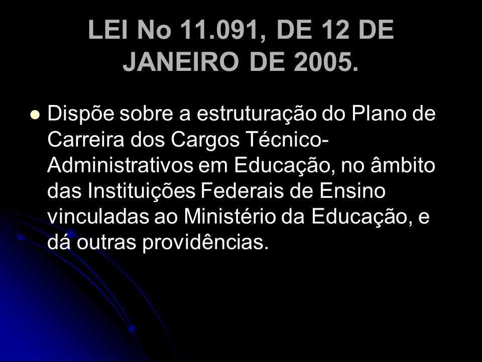 LEI No 11.091, DE 12 DE JANEIRO DE 2005. Dispõe sobre a estruturação do Plano de Carreira dos Cargos Técnico- Administrativos em Educação, no âmbito d