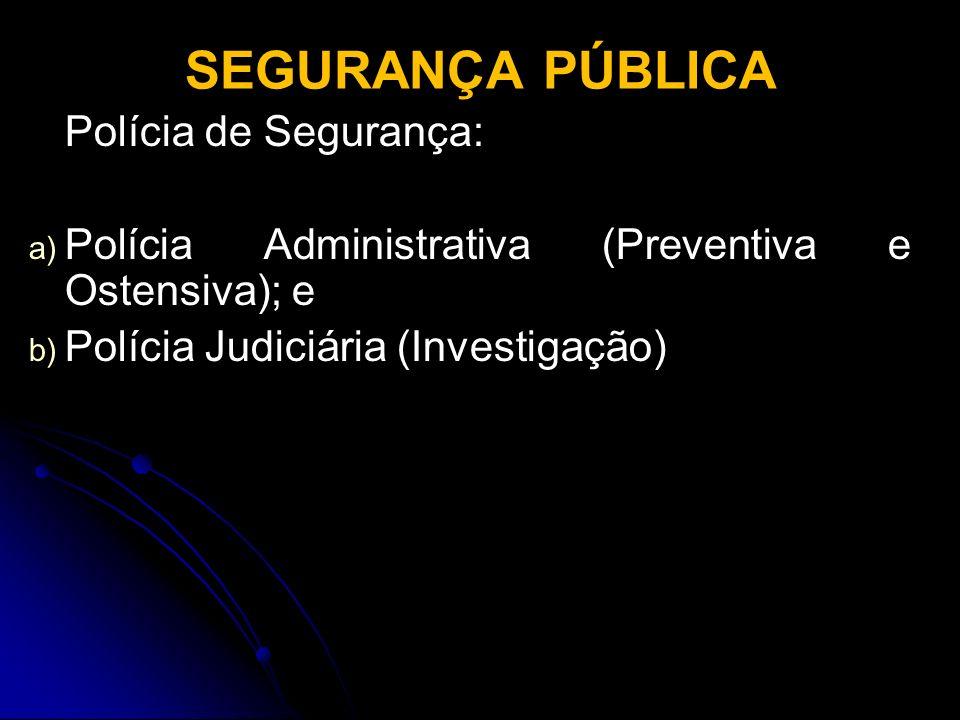SEGURANÇA PÚBLICA Polícia de Segurança: a) a) Polícia Administrativa (Preventiva e Ostensiva); e b) b) Polícia Judiciária (Investigação)