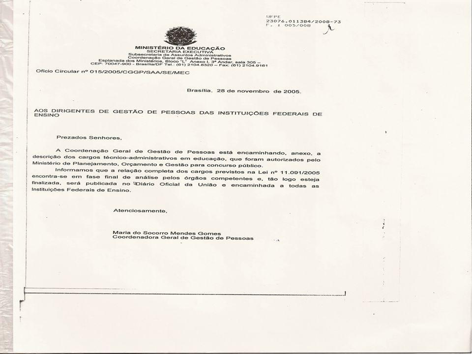 Ofício-Circular nº 15/2005-MEC A Coordenação Geral de Gestão de Pessoas está encaminhando, anexo, a descrição dos cargos técnico-administrativos em ed