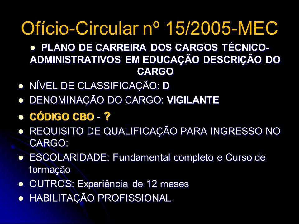 Ofício-Circular nº 15/2005-MEC PLANO DE CARREIRA DOS CARGOS TÉCNICO- ADMINISTRATIVOS EM EDUCAÇÃO DESCRIÇÃO DO CARGO PLANO DE CARREIRA DOS CARGOS TÉCNI