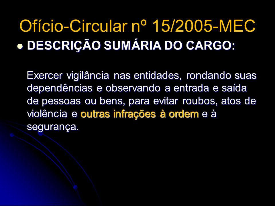 Ofício-Circular nº 15/2005-MEC DESCRIÇÃO SUMÁRIA DO CARGO: DESCRIÇÃO SUMÁRIA DO CARGO: Exercer vigilância nas entidades, rondando suas dependências e