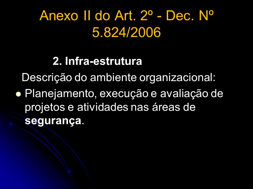 Anexo II do Art. 2º - Dec. Nº 5.824/2006 2. Infra-estrutura Descrição do ambiente organizacional: Planejamento, execução e avaliação de projetos e ati