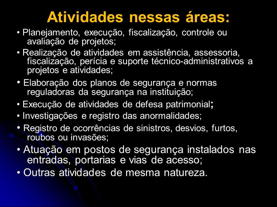 Atividades nessas áreas: Planejamento, execução, fiscalização, controle ou avaliação de projetos; Realização de atividades em assistência, assessoria,