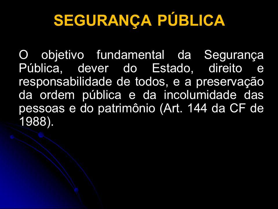 SEGURANÇA PÚBLICA O objetivo fundamental da Segurança Pública, dever do Estado, direito e responsabilidade de todos, e a preservação da ordem pública